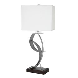"Van Teal 630572 Lady Clara 33"" Table Lamp Table Lamp, Silver Table Lamp, Weathered Steel, Matte Black, Acrylic, Clear Polished, Hard Back Shade, White Linen, Unique, Designer"