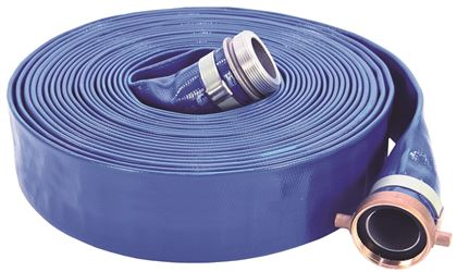 ABBOTT RUBBER 1148-3000-50 Layflat Contractors Grade Discharge Hose Assembly, 3 in ID x 50 ft, 80 psi