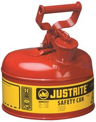 Justrite 7110100 Type I Safety Can, 1 gal, 9-1/2 in Dia x 11 in H, Self-Venting, Steel, Red