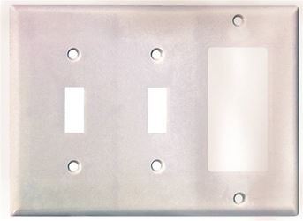 Arrow Hart 2173 Combination Decorative Standard Wall Plate, 3 Gang, 4-1/2 in L x 6.37 in W, White