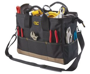 BigMouth Tool Works 1165 Traditional Large Tool Bag, 16 in L X 8-1/2 in W X 10 in D, Black