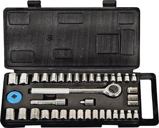ProSource TG040-23L Metric/SAE Socket Wrench Set, 40 Pieces, 1/4 or 3/8 in
