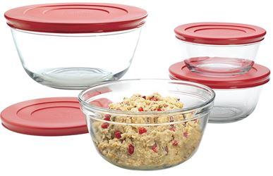 Anchor Hocking 92224 Mixing Bowl Set With Red Plastic Lids, 1, 1.5 And 2.5 Qt, Glass, Clear - 2 Pack