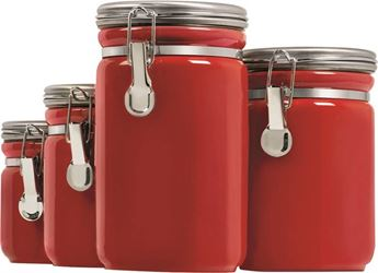 Anchor Hocking 03923red Canister Red Crmc 4pc - 2 Pack