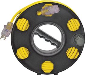 Power Zone ORCR2002 Cord Storage Reel, 100 ft, Plastic, Black