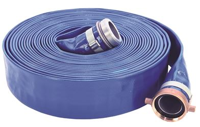 ABBOTT RUBBER 1148-1500-50/7801-150X50MF Lay-Flat Discharge Hose Assembly, 1-1/2 in ID x 50 ft, 80 psi