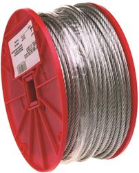 Campbell 700-0327 Flexible Uncoated Aircraft Cable, 3/32 in Dia X 500 ft L, 184 lb