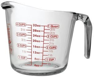 Anchor Hocking 551780l13 Measuring Cups, Open Handle, Glass, 4 Cup - 3 Pack