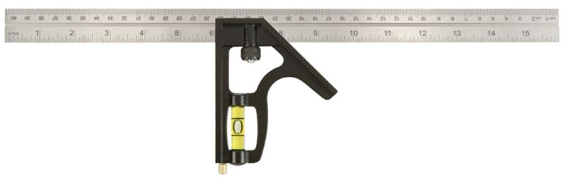 Johnson 420EM Professional Combination Square, 16 in L, 1/8 in, 1/16 in, 1 mm, Steel Blade