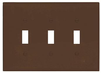 Cooper Wiring Pj3B 3G Toggle Plate - Brown - 15 Pack
