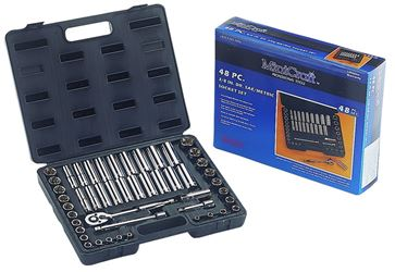 ProSource TS-473-3/8SA/ME Metric/SAE Socket Wrench Set, 48 Pieces, 3/8 in, 6 Points
