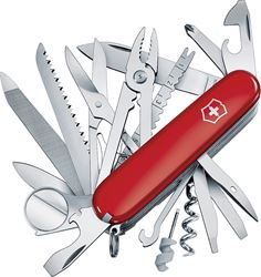 SwissChamp 53501 Pocket Knife, 34-In-1 Function, Stainless Steel, VX Red