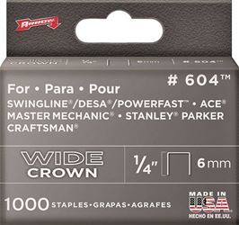 Arrow Fastener 60430  Staples, 600 Series, Wide Crown, 1/4 Inch