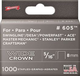 Arrow Fastener 60530  Staples, 600 Series, Wide Crown, 5/16 Inch