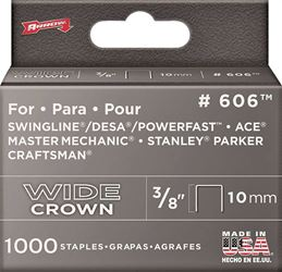 Arrow 606 600 Flat Wide Heavy Duty Crown Staple, 1/2 in, 3/8 in Leg
