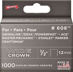 Arrow Fastener 60830  Staples, 600 Series, Wide Crown, 1/2 Inch