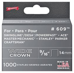 Arrow Fastener 60930  Staples, 600 Series, Wide Crown, 9/16 Inch