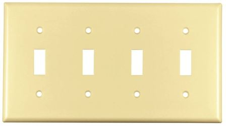 Arrow Hart Eagle 2154 Standard Wall Plate, 4 Gang, 4-1/2 in L x 8.19 in W x 0.08 in T, Ivory