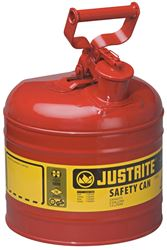 Justrite 7120100 Type I Safety Can, 2 gal, 9-1/2 in Dia x 13-3/4 in H, Self-Venting, Steel