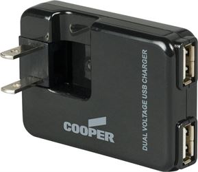 Cooper BP450-SP Dual Plug-In USB Charger, Black