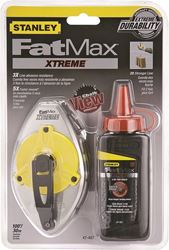 FatMax Xtreme 47-487L Chalk Line Reel, 100 ft L, 4 oz Capacity, Red