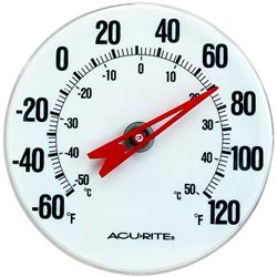 AcuRite 00346CASB Weather Resistant Analog Thermometer With Bracket, -60 TO 120 deg F, +/-2 deg F Accuracy, 5 in Dia