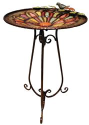 Alpine ORS196 Bird Bath With Black Metal Stand, 19 in L X 19 in W X 30 in H, Metal, Multi-Color
