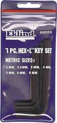 Eklind Torx 69205 Short Arm Hex Key Set With Plastic Ring, 7 Pieces