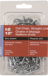 Ben-Mor 55203 Straight Link Coil Chain, No 2 X 12 Ft, 310 Lb, Low Carbon Steel