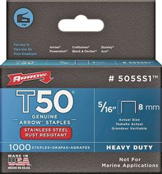 Arrow Fastener 505SS1 T50 Staples, Stainless Steel, 5/16 Inch