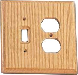ProSource OAK014 Combination Wall Plate, 2 Gang, 5-1/2 in L x 5-1/4 in W x 13/32 in D, Light Oak