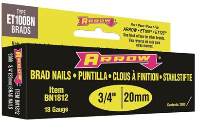 Arrow BN18 Nail, 3/4 in, Steel, Brown