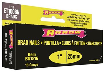 Arrow BN18 Nail, 1 in, Steel, Brown