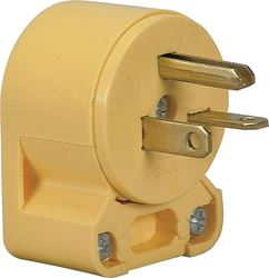 Cooper 4509AN-BOX Grounded Angled Electrical Plug, 250 V/AC, 20 A, 2 P, 3 W, Yellow