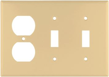 Arrow Hart 2158 Combination Standard Wall Plate, 3 Gang, 4-1/2 in L x 6.37 in W x 0.08 in T, Ivory