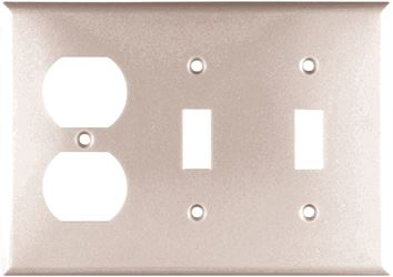 Arrow Hart 2158 Combination Standard Wall Plate, 3 Gang, 4-1/2 in L x 6.37 in W x 0.08 in T, White