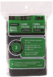 3M 10115 Rectangular? Steel Wool Pad, 4 in L x 2 in W, Synthetic Fiber, NO 3 Grit, Black