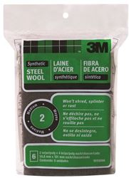 3M 10116 Rectangular? Steel Wool Pad, 4 In L X 2 In W, Synthetic Fiber, No 2 Grit, Black