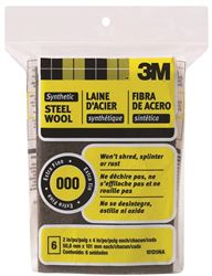 3M 10120 Rectangular? Steel Wool Pad, 4 In L X 2 In W, Synthetic Fiber, No 000 Grit, Gray