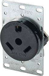 Arrow Hart 1263-BOX Straight Blade Power Receptacle, 125 V, 30 A, 2 Pole, 3 Wire, Black