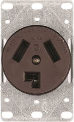 Arrow Hart 38B Non-Grounded Straight Blade Electrical Receptacle, 125/250 V, 30 A, 3 Pole, 3 Wire