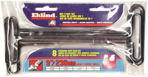 Eklind 33198 T-Handle Long Arm Hex Key Set, 8 Pieces, 9 in L Arm