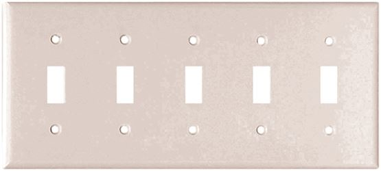 Arrow Hart Eagle 2155 Standard Wall Plate, 5 Gang, 4-1/2 in L x 10 in W x 0.08 in T, White