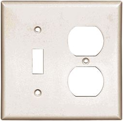 Arrow Hart 2138 Combination Standard Wall Plate, 2 Gang, 4-1/2 in L x 4.56 in W x 0.08 in T, White