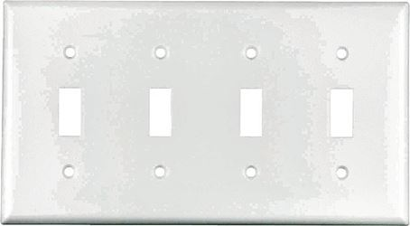 Arrow Hart Eagle 2154 Standard Wall Plate, 4 Gang, 4-1/2 in L x 8.19 in W x 0.08 in T, White