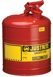 Justrite 7150100 Type I Safety Can, 5 gal, 11-3/4 in Dia x 16-7/8 in H, Self-Venting, Steel