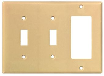 Arrow Hart 2173 Combination Decorative Standard Wall Plate, 3 Gang, 4-1/2 In L X 6.37 In W, Ivory
