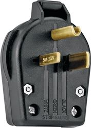 Cooper S42-SP Grounded Angled Electrical Plug, 250 VAC, 30 A, 2 P, 3 W, Black