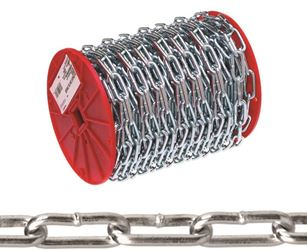 Campbell 072-6827 Straight Proof Tested Link Coil Chain, NO 2, 125 ft L, 310 lb, Low Carbon Steel