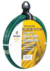 Wellington 15742 Twisted Wire Clothesline, No 5, 5/32 In Dia X 50 Ft L, 5 Lb, Pvc, Green, Vinyl Coated